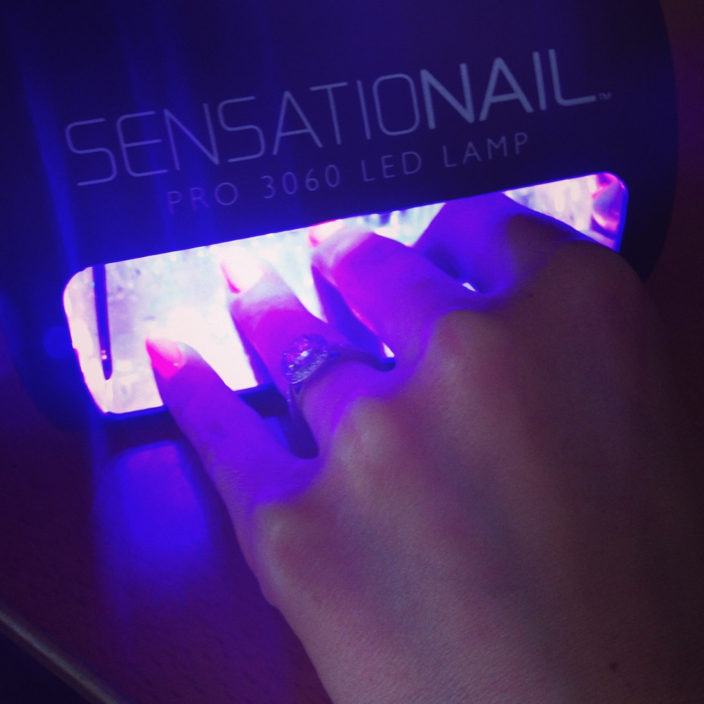 Nails under lamp for one minute