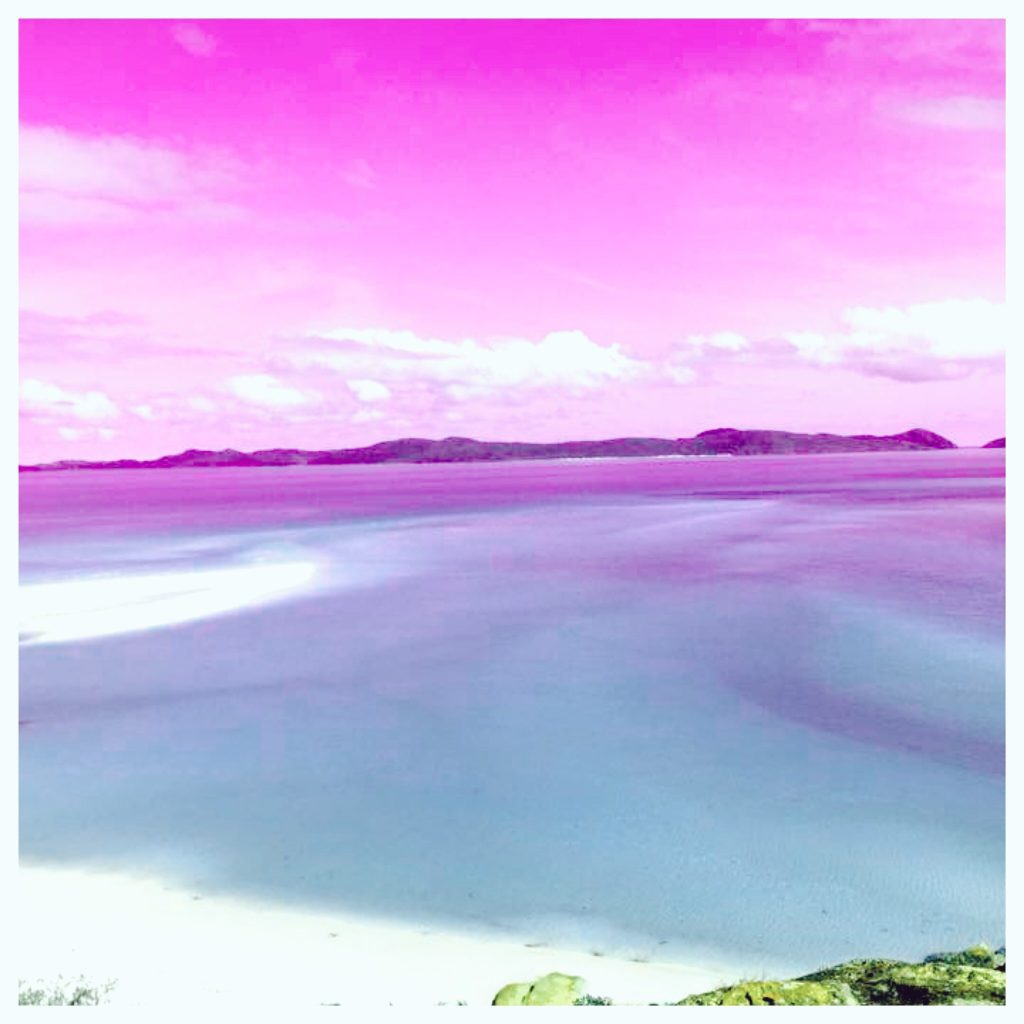 Whitehaven Beach in pink