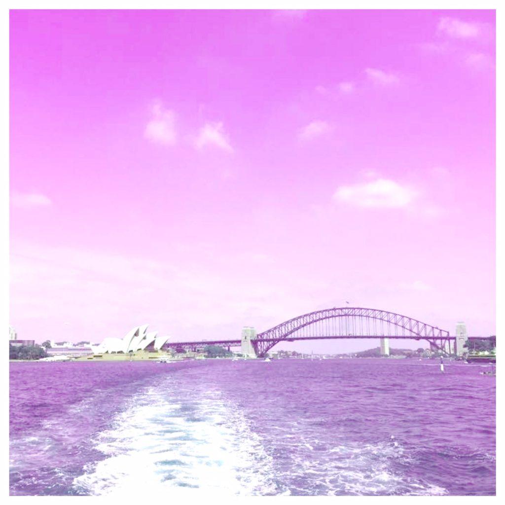 Sydney Harbour in pink