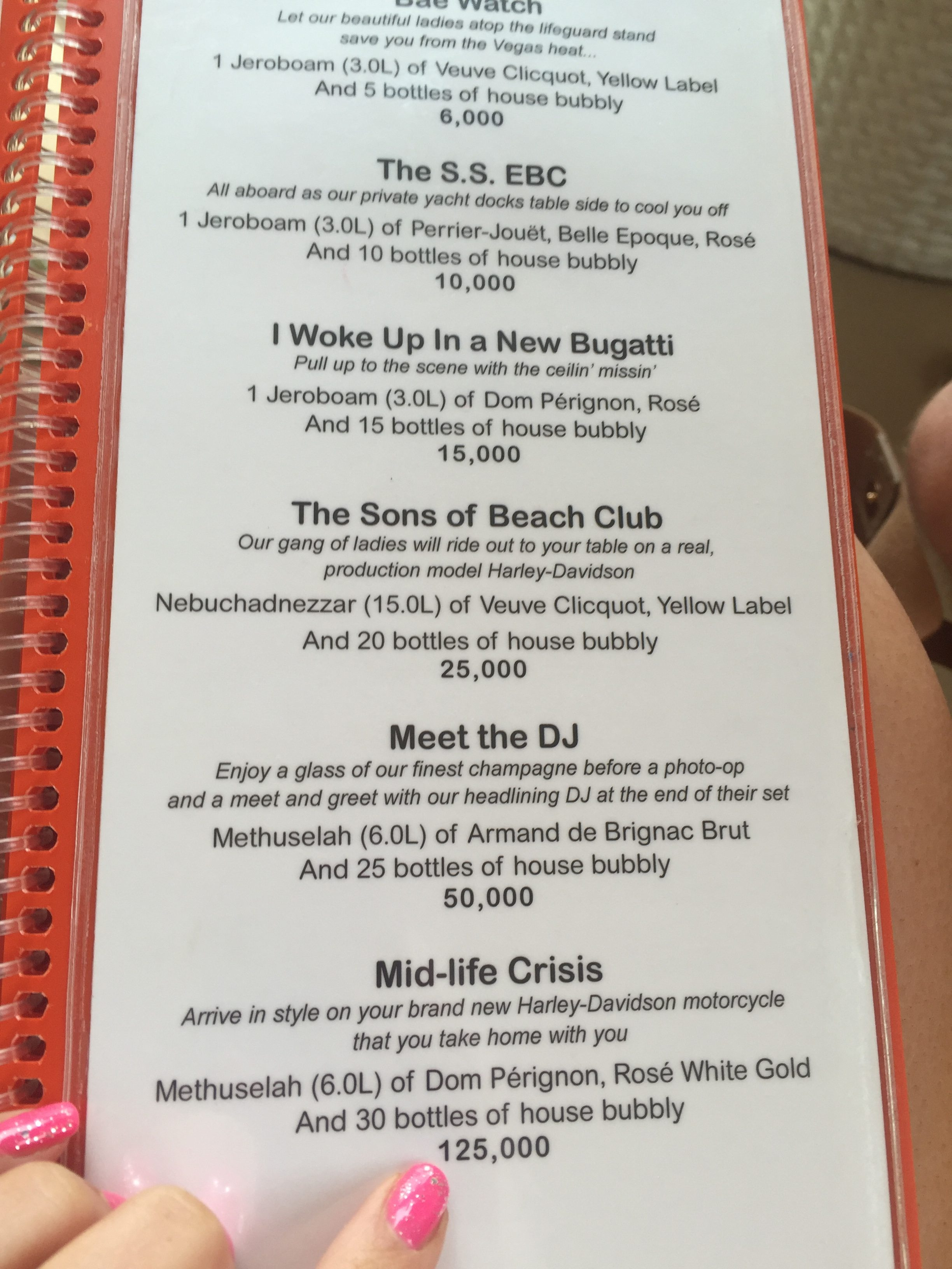 Daylight Beach Club Food Menu
