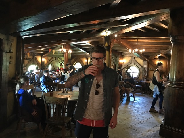 Drinking cider in the Green Dragon at the Hobbiton Movie Set