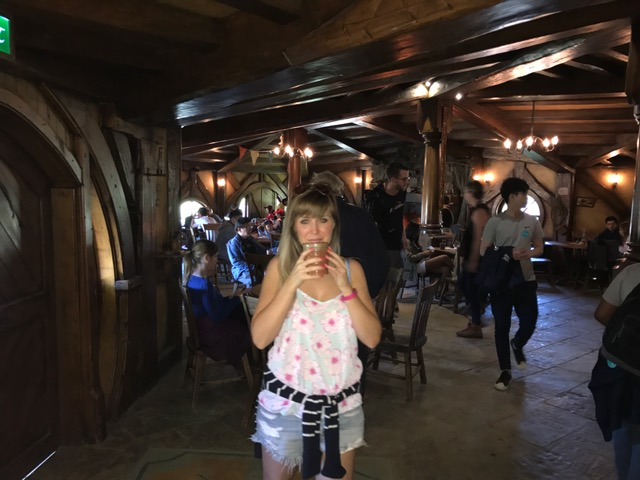 Drinking cider in the Green Dragon in the Hobbiton Movie Set