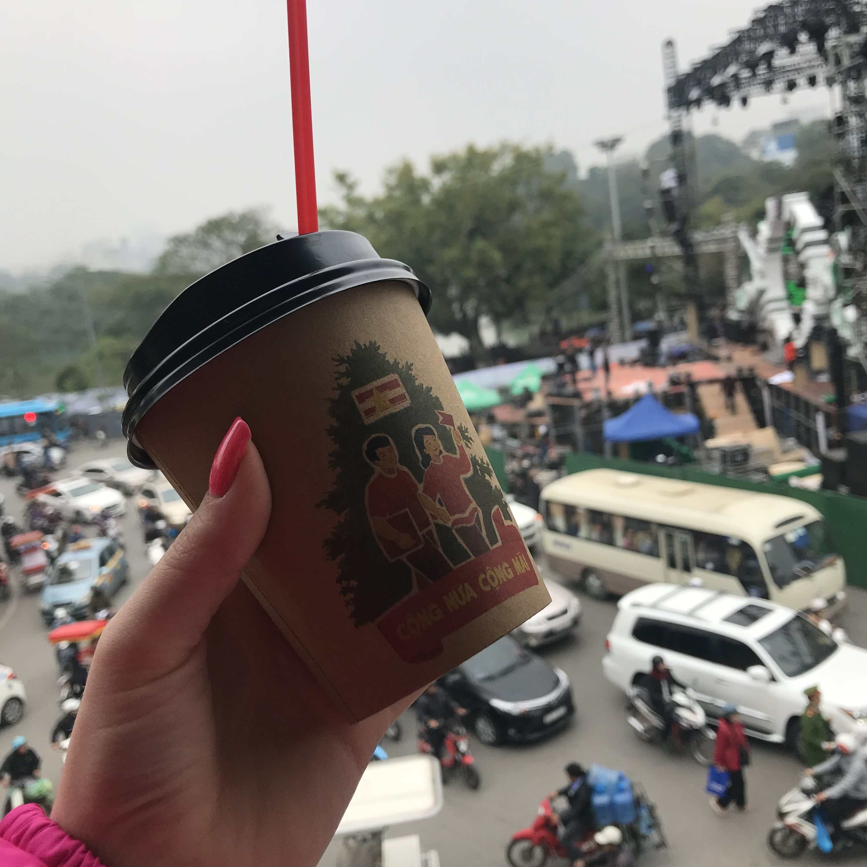 Drinking coffee at Cong in Hanoi